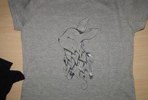 회색 t- 셔츠 인쇄 샘플에 의해 A2 t- 셔츠 프린터 WER-D4880T